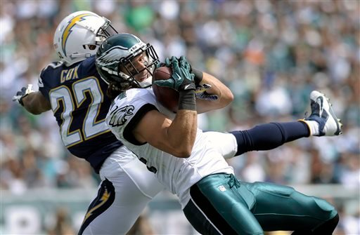 Philadelphia Eagles' Riley Cooper, right, pulls in a touchdown pass as San Diego Chargers' Derek Cox defends during the first half of an NFL football game on Sunday, Sept. 15, 2013, in Philadelphia. (AP Photo/Michael Perez)