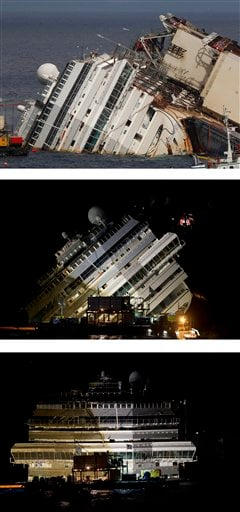 This combination of photos shows the Costa Concordia before, top, during, center, and after an operation was competed to lift the cruise ship to an upright position, on the Tuscan Island of Giglio, Italy.