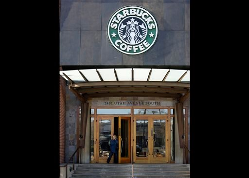 Starbucks' corporate headquarters is seen in this Monday, Jan. 26, 2009 file photo taken, in Seattle. (AP Photo/Elaine Thompson, File)