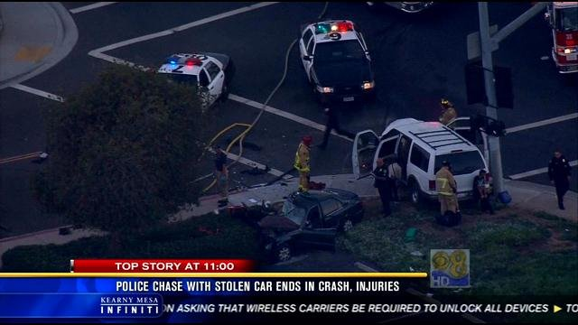 Police chase with stolen car ends in crash, injuries - CBS ...