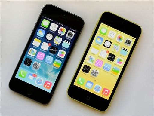 The iPhone 5S, left, and iPhone 5c are displayed Tuesday, Sept. 17, 2013, in New York.