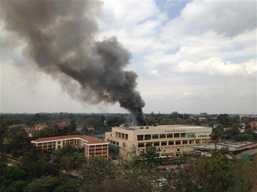 Heavy smoke rises from the Westgate Mall in Nairobi Kenya Monday Sept. 23 2013.