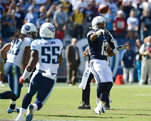 San Diego Chargers wide receiver Keenan Allen (13) laterals the ball as Tennessee Titans defenders Michael Griffin (33) and Zach Brown (55) close in on the final play of an NFL football game on Sunday, Sept. 22, 2013, in Nashville, Tenn.