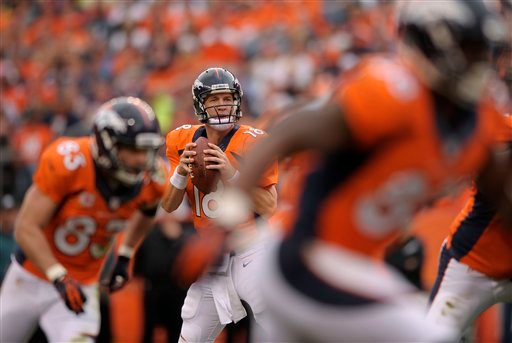 Denver Broncos quarterback Peyton Manning (18) drops back to pass for a touchdown against the Philadelphia Eagles in the third quarter of an NFL football game, Sunday, Sept. 29, 2013, in Denver. (AP Photo/Jack Dempsey)