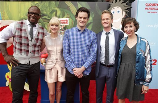 Terry Crews, Anna Faris, Bill Hader, Neil Patrick Harris and Kristen Schaal seen on the red carpet at the Columbia Pictures and Sony Pictures Animation premiere of 'Cloudy with a Chance of Meatballs 2'. (Photo by Eric Charbonneau/Invision/AP)