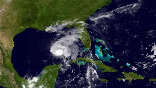 This image provided by NOAA shows Tropical Storm Karen taken late Thursday night Oct. 3, 2013.