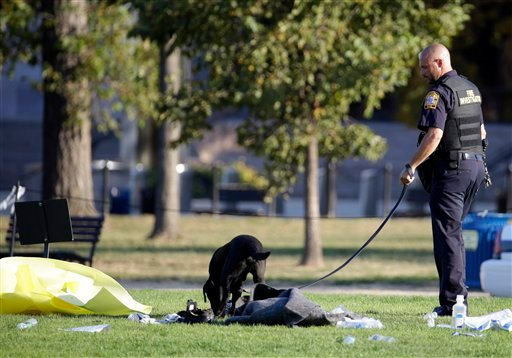 A fire investigator and K-9 dog investigate the scene on the National Mall in Washington, where, according to a fire official, a man set himself on fire Friday, Oct. 4, 2013. The official said the man was flown by helicopter to a hospital. (AP Photo)