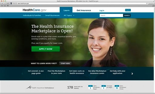This photo provided by HHS shows the main landing web page for HealthCare.gov. Bedeviled by technology glitches that frustrated millions of consumers, the Obama administration is taking down its health overhaul website for repairs this weekend.