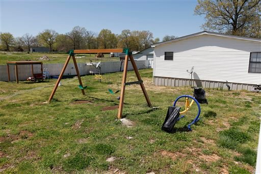 This Friday, April 9, 2010 file photo shows a swing set in the backyard of Torry Hansen and Nancy Hansen in Shelbyville, Tenn.
