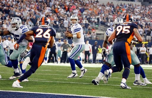 Dallas Cowboys quarterback Tony Romo, center, looks to pass against the Denver Broncos during the third quarter of an NFL football game Sunday, Oct. 6, 2013, in Arlington, Texas. (AP Photo/Sharon Ellman)