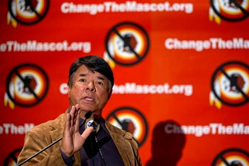 Ray Halbritter, National Representative of the Oneida Indian Nation gestures as he speaks during the Oneida Indian Nation's Change the Mascot symposium, Monday, Oct. 7, 2013, in Washington. (AP)