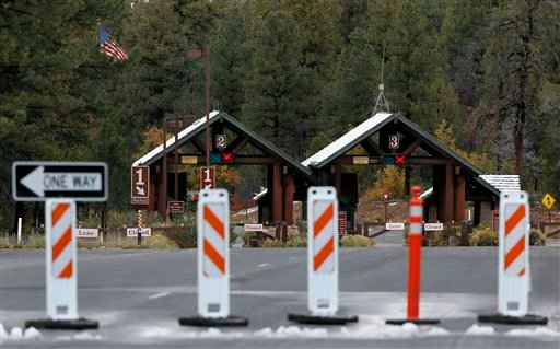 The main entrance to Grand Canyon National Park remains closed to visitors on Thursday Oct. 10, 2013, in Grand Canyon, Ariz.