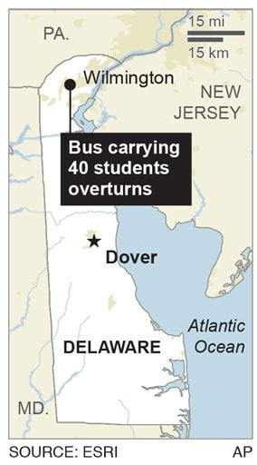 Map shows area where bus overturned.