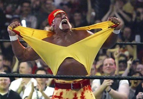 FILE - In this April 3, 2005, file photo, Hulk Hogan fires up the crowd between matches during WrestleMania 21 at the Staples Center in Los Angeles. (AP)