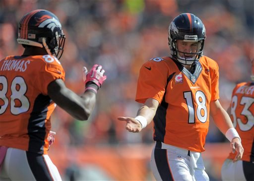 Denver Broncos quarterback Peyton Manning (18) reaches for a hand from wide receiver Demaryius Thomas (88) after a Denver touchdown against the Jacksonville Jaguars in the first quarter of an NFL football game, Sunday, Oct. 13, 2013, in Denver.