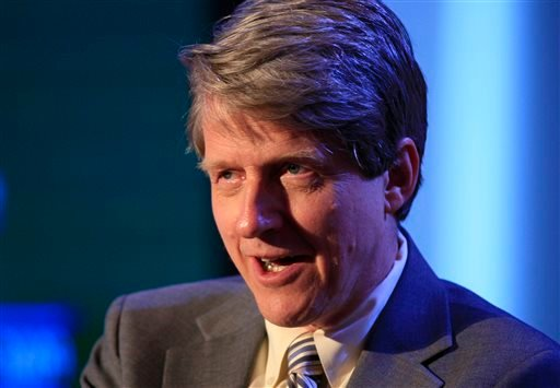 In this Monday, June 15, 2009, file photo, Rober Shiller, a professor of economics at Yale, participates in a panel discussion at Time Warner's headquarters in New York.