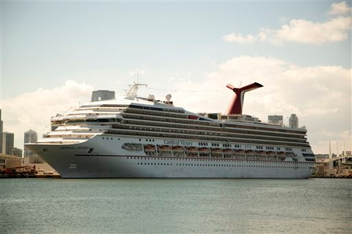 The Carnival Cruise line ship, Victory, sits in port in Miami, Monday, Oct. 14, 2013. (AP)