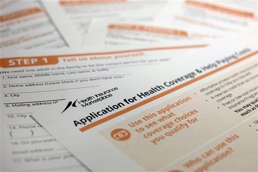 This Sept. 11, 2013, file photo, shows the federal government form for applying for health coverage in Washington. (AP)
