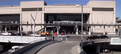 In this framegrabbed image from APTN the entrance to the Tom Bradley International Terminal in Los Angeles can be seen Tuesday Oct. 15, 2013.(AP Photo\APTN)