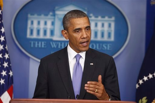 President Barack Obama makes a statement to reporters in the Brady Press Briefing Room at the White House in Washington, Wednesday, Oct. 16, 2013. (AP)