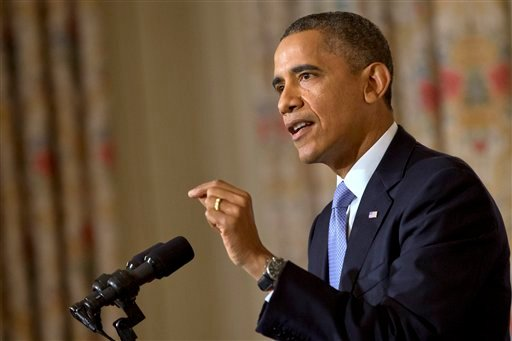 President Barack Obama speaks in the State Dining Room of the White House in Washington on Thursday, Oct. 17, 2013. Lawmakers Wednesday voted to avoid a financial default and reopen the government after a 16-day partial shutdown. (AP Photo)