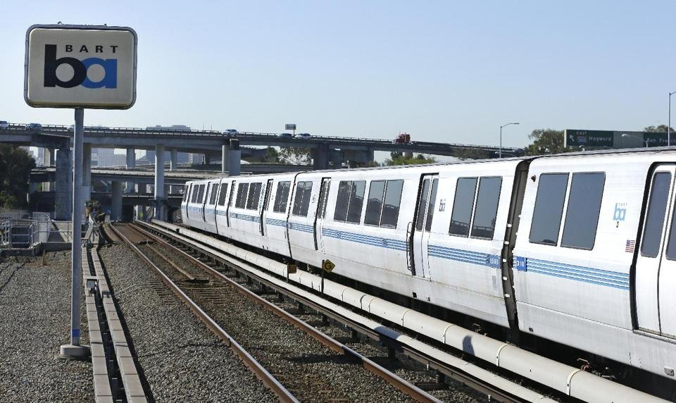 A Bay Area Rapid Transit train leaves the station Tuesday, Oct. 15, 2013, in Oakland, Calif. (AP Photo)