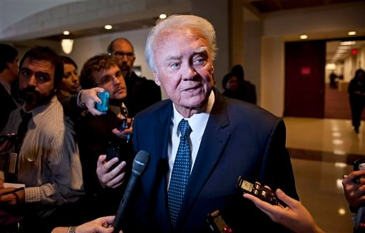 In this Nov. 16, 2012 file photo, Rep. Bill Young, R-Fla. speaks with reporters on Capitol Hill in Washington following the House Intelligence Committee hearing on the Sept. 11, 2012 attack in Libya and testimony by former CIA Director David Petraeus.