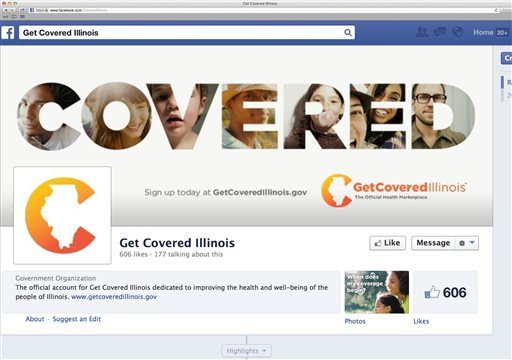 This image shows the Facebook page for the state of Illinois' Get Covered Illinois campaign on Friday, Oct. 18, 2013.