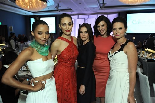 """From left, actresses Kat Graham, Emmy Rossum, Zoey Deutch, Jessica Pare and Katie Lowes attend the ELLE 20th annual """"Women in Hollywood"""" event at the Four Seasons Hotel on Monday, Oct. 21, 2013 in Los Angeles. (Photo by Jordan Strauss/Invision/AP)"""