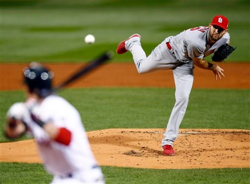 St. Louis Cardinals starting pitcher Michael Wacha throws during the first inning of Game 2 of baseball's World Series against the Boston Red Sox Thursday, Oct. 24, 2013, in Boston.