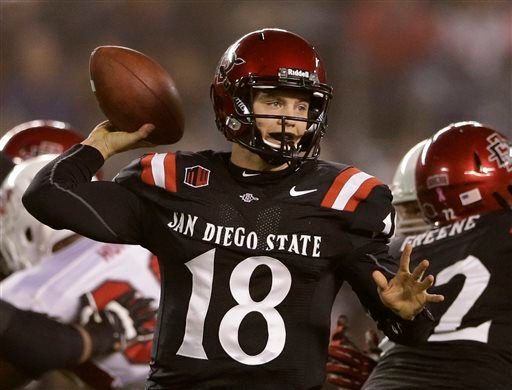 San Diego State quarterback Quinn Kaehler throws a pass while playing Fresno State during the first half in an NCAA college football game Saturday, Oct. 26, 2013, in San Diego. (AP Photo/Gregory Bull)