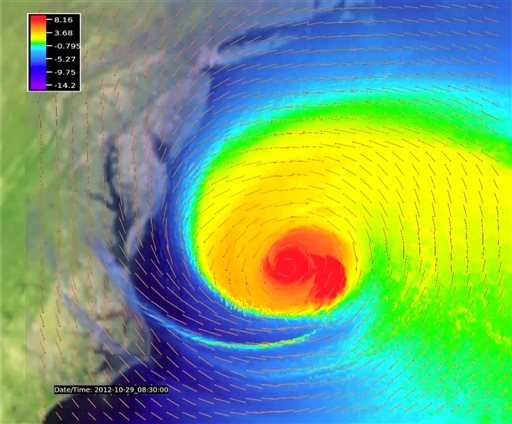 This computer image made available by the University Corporation for Atmospheric Research in October 2013 shows a frame of a video of simulated of potential temperatures within and around Suerstorm Sandy as it approaches the East Coast on Oct. 29, 2012.