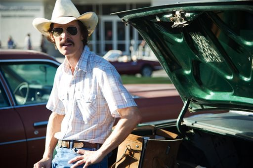 "This image released by Focus Features shows Matthew McConaughey as Ron Woodroof in a scene from the film, ""Dallas Buyers Club."" (AP Photo/Focus Features, Anne Marie Fox)"