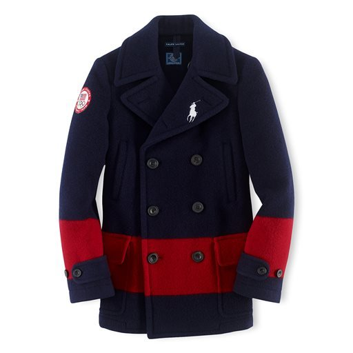 This undated product image provided by Ralph Lauren shows a navy peacoat with a red stripe, part of the official gear of the U.S. Olympic team.