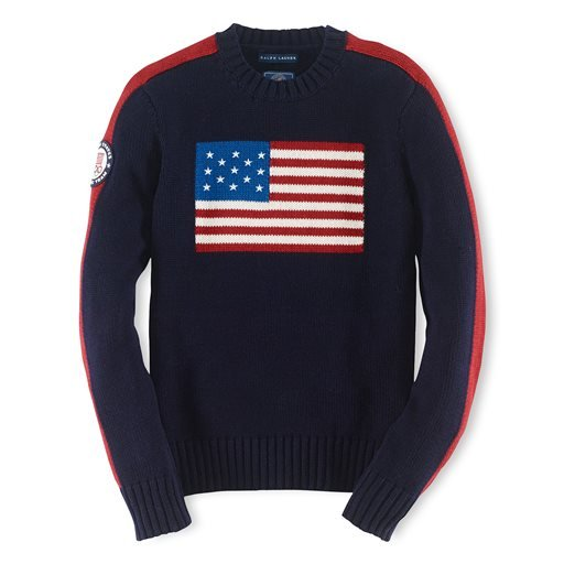 This product image provided by Ralph Lauren shows an American flag sweater, part of the official gear of the U.S. Olympic team.