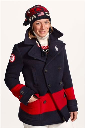 This undated product image provided by Ralph Lauren shows U.S. Olympic skier Hannah Kearney wearing fashion by designer Ralph Lauren for the 2014 Winter Olympics.