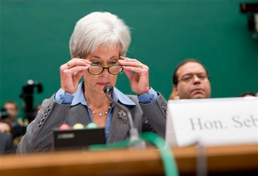 Health and Human Services Secretary Kathleen Sebelius prepares to testify on Capitol Hill in Washington, Wednesday, Oct. 30, 2013. (AP Photo/ J. Scott Applewhite)