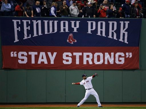 Boston Red Sox starting pitcher John Lackey warms up before Game 6 of baseball's World Series against the St. Louis Cardinals Wednesday, Oct. 30, 2013, in Boston. (AP Photo/Matt Slocum)