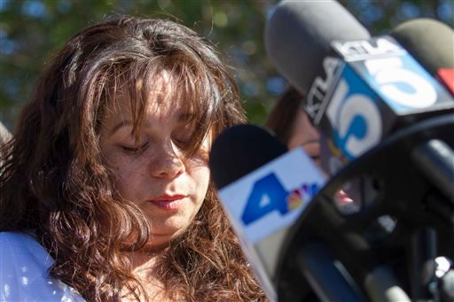 Ana Hernandez, wife of Gerardo, victim at LAX shooting, during a press conference in Porter Ranch, Calif. on Saturday Nov. 2, 2013.