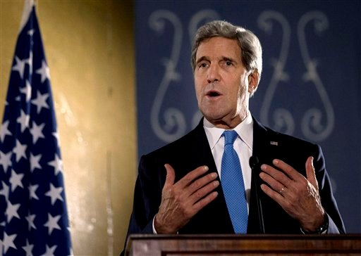 U.S. Secretary of State John Kerry speaks during press conference in Cairo, Sunday, Nov. 3, 2013.