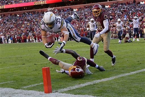 San Diego Chargers running back Danny Woodhead dives over Washington Redskins free safety David Amerson and lands short of the touchdown during the second half of a NFL football game in Landover, Md., Sunday, Nov. 3, 2013.