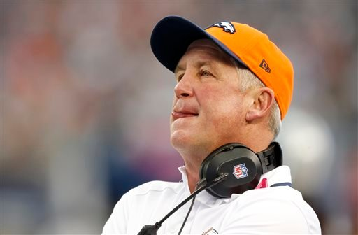 In this Oct. 6, 2013 file photo, Denver Broncos head coach John Fox watches during the first quarter of an NFL football game against the Dallas Cowboys, in Arlington, Texas.
