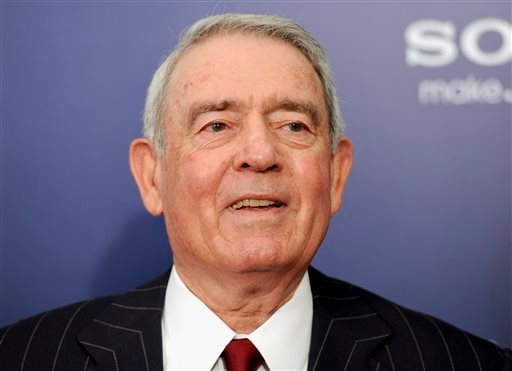 "This Oct. 5, 2011 file photo shows journalist Dan Rather at the premiere of ""The Ides of March"" in New York."