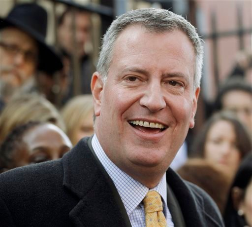 FILE- In this Nov. 5, 2013, file photo, Democratic mayoral candidate Bill de Blasio, talks to the media after voting in the Park Slope neighborhood in the Brooklyn borough of New York. (AP)