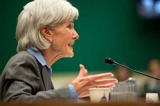 In this Oct. 30, 2013 file photo, Health and Human Services Secretary Kathleen Sebelius testifies on Capitol Hill in Washington. (AP Photo/ Evan Vucci, File)