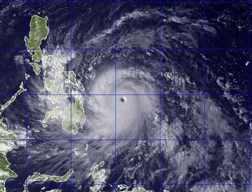 This image provided by the U.S. Naval Research Lab shows Typhoon Haiyan taken by the NEXSAT satellite Thursday Nov. 7, 2013 at 2:30 a.m. EDT. (AP Photo/US Naval Research Lab)