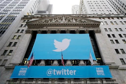 Twitter signage is draped on the facade of the New York Stock Exchange, Thursday, Nov. 7, 2013 in New York.
