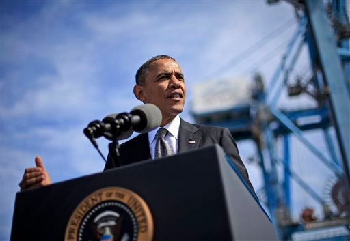President Barack Obama speaks at the Port of New Orleans, Friday, Nov. 8, 2013, in New Orleans.
