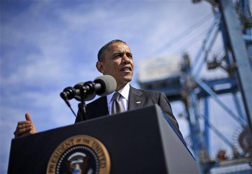President Barack Obama speaks at the Port of New Orleans, Friday, Nov. 8, 2013, in New Orleans.