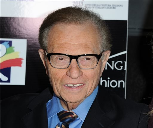 This Feb. 17, 2013 file photo shows Larry King at the 8th Annual Los Angeles, Italia Film, Fashion and Art Festival where Al Pacino is being honored with the Jack Valenti L.A.